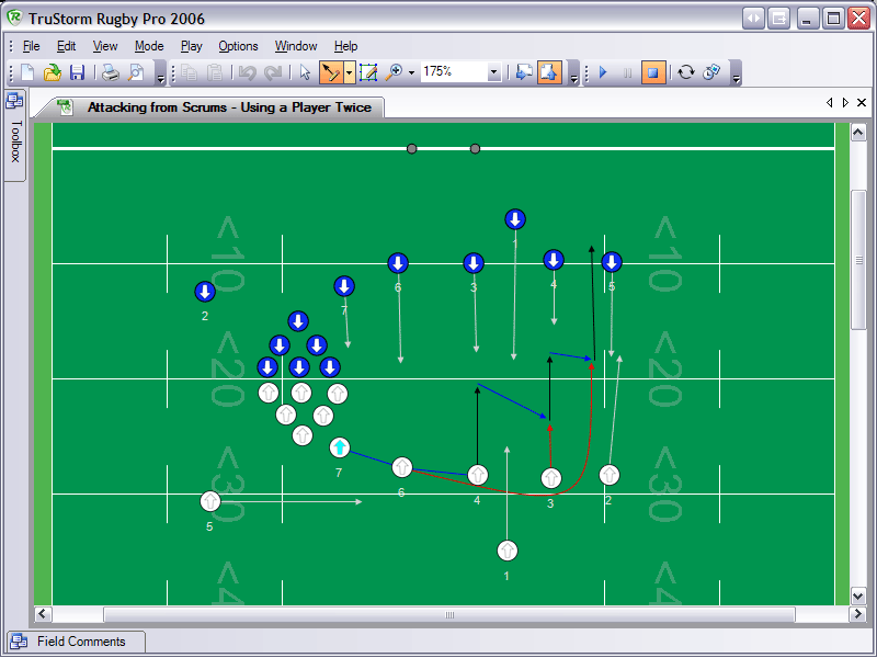 Rugby Pro 2006 allows coaches to create animated plays and drills.